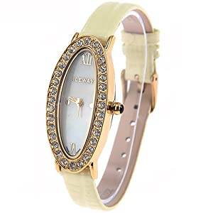 (ILEWAY) ABL-8806 Elegant Genuine Leather Quartz Analog Watches Wrist Watches Timepieces with Rhinestones f Female - Light Yellow SWWM3-224798