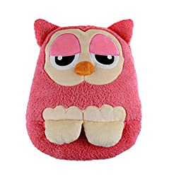 LIWUYOU Winter Cute Owl Shape Plush Multi-use USB Electric Heated Warm Foot Shoes and Hand Warmer Pillow Cushion, Pink