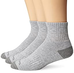 Timberland Mens 3 Pair Quarter Socks, Grey, One Size(Shoe size 9-12)