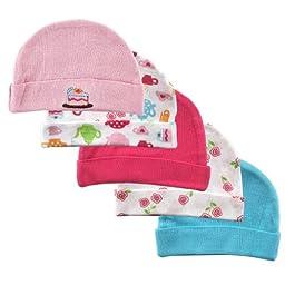 Luvable Friends Caps 5 Pack, Pink