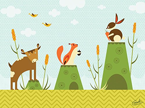 Oopsy daisy, Fine Art for Kids Cattails and Critters Stretched Canvas Art by Carmen Mok, 24 by 18-Inch