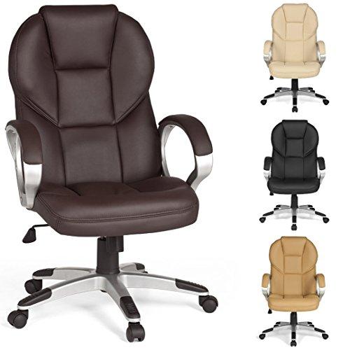 FineBuy-Brostuhl-MARK-Bezug-Kunstleder-Braun-Schreibtischstuhl-Design-X-XL-120-kg-Chefsessel-Wippfunktion-ergonomisch-Polster-Drehstuhl-hohe-Rcken-Lehne-hhenverstellbar-mit-Armlehnen-Hochlehner
