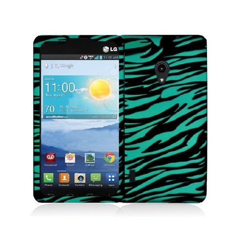 Cell Accessories For Less (Tm) Black/Baby Blue Zebra Hard Rubberized Design Case Cover For Lg Lucid 2 Vs870 + Bundle (Stylus & Micro Cleaning Cloth) - By Thetargetbuys front-743116