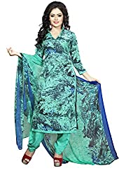 Divyaemporio Women'S Green American Faux Crepe Salwar Suits Dress Material