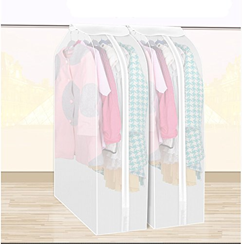 YIXIN Set of 2 Waterproof See-Through Garment Bag Clothes Cover Bag Duster Frosted Dress Top Organizer Zip Up Frameless Suit Protector with Magic Tape (Garment Bag For Closet compare prices)