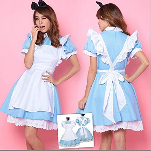 Deetto Alice in Wonderland Cosplay Anime Maid Costumes Lolita Women Girls Dress