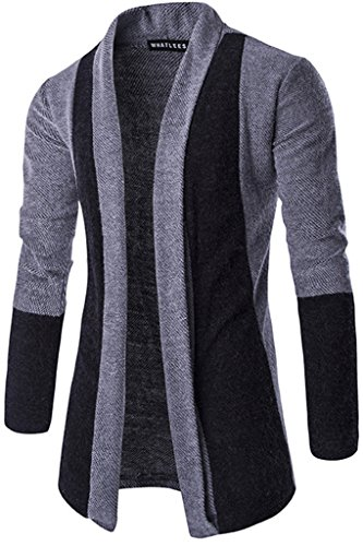What Lees Mens Hipster Contrast Longline Cardigans Coats B201-Grey-L