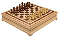 Helen Chess Inlaid Wood Board Game with High Quality Weighted Wooden Pieces - 15 Inch Set