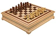 Helen Chess Inlaid Wood Board Game with High Quality Weighted Wooden Pieces – 15 Inch Set
