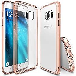 Galaxy S7 Edge Case, Ringke [Fusion] Crystal Clear PC Back TPU Bumper [Drop Protection/Shock Absorption Technology][Attached Dust Cap] For Samsung Galaxy S7 Edge - Rose Gold Crystal