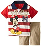 Disney Baby-Boys Infant 2 Piece Mickey Mouse Jersey Polo Set with Screen-Print