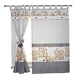 2er Set Gardinen Kinderzimmer Vorhänge mit Schlaufen und Schleifen 155x95