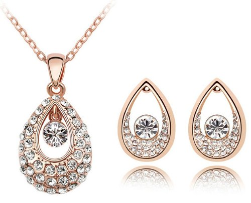 Swarovski Elements Crystal Princess Teardrop Pendant Necklace 47CM And Earrings Jewelry Set – CN9038Z1