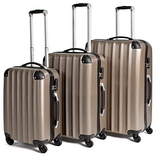 TecTake Set di 3 valigie ABS rigido trolley valigia bagaglio a mano borsa elegante champagne