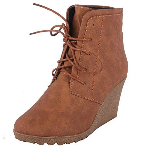 Reneeze Cherry-2 Women High Heel Wedge Ankle Boots - Camel,Cherry-2-Camel 9