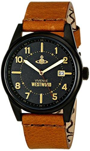 Vivienne Westwood VV079BKTN - Reloj analógico de cuarzo para hombre, correa de cuero color marrón