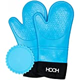 Commercial Grade Heavy Duty Silicone Quilted Oven Mitts Set -One Pair Extra Long Mitts and One Trivet Heat Resistant (Blue)