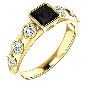 18K Yellow Gold Princess Cut Black Diamond Engagement Ring - 1.35 Ct.