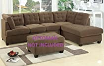 Big Sale 2 Pc Truffle Finish Sectional Sofa Set in Waffle Suede Material