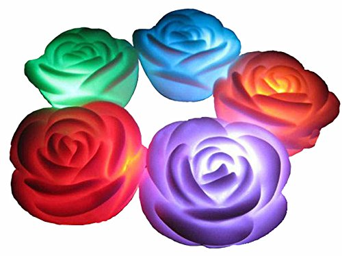Valentine's Day Gift,Flameless candles,6-Battery Powered, Color Changing (7 Colors) LED Romantic Rose Flower Night Light Candle.