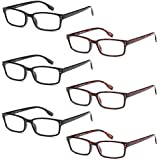 GAMMA RAY READERS 6 Pairs Men's Readers Quality Spring Hinge Reading Glasses for Men (Exclusive, 1.5 x)