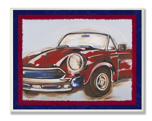 The Kids Room by Stupell Blue and Red Vintage Car Rectangle Wall Plaque