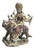 Goddess Devi Invincible Durga The Mahashakti Riding On Tiger Figurine Eastern Enlightenment Hindu Sculpture