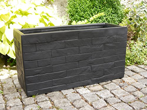 pflanztrog wall aus fiberglas wie orig granitgestein 80x30x40cm in schwarz pflanzk bel. Black Bedroom Furniture Sets. Home Design Ideas