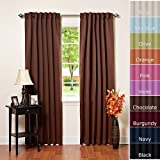 """Solid Thermal Insulated Blackout Curtains, Two panels, Chocolate 52"""" x 84"""