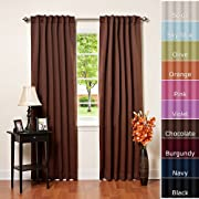 Solid Thermal Insulated Blackout Curtains, Two panels, Chocolate 52
