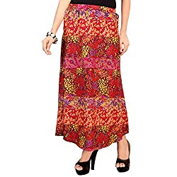 SFDS Women's Cotton Red Skirt(T-315-Extra Large)