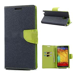Acm Wallet Diary Flip Case For Samsung Galaxy Note 3 Neo Mobile Multi-Color Cover-Dark Blue With Green Inside