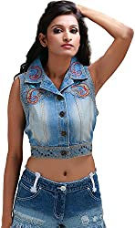 ITS HOT Women's Button Front Jacket (Sc108S_L, Blue, L)
