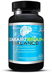 Brain Booster by Smart Brain Balance, All Natural Brain Boosting Supplements W/ Ginko Biloba, Ginseng & St John's Wort, 60 Veggie Capsules