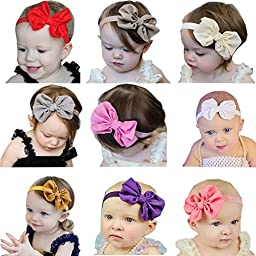 Quest Sweet® Baby 9 Color Set Hair Hoops Headbands Girl\'s Soft Hairband with Bows