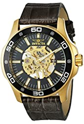 Invicta IN17261 Mens Specialty Steel Mechanical Leather Band Black Dial Watch