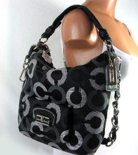 Coach Kristin Signature Op Art Embroidered Shoulder Hobo Bag Purse 15354 Black Multi