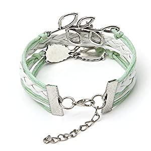S.S®(SportSpirit)Pop White wiht Green Owl Infinity Antique Bronze Korea Velvet Friendship Leather Cute Bracelet Tree Bird Wrist Band by S.S®(SportSpirit)