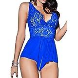 Singlelady Sexy Lingerie Open Crotch Leotard Teddy Nightwear Lace Miniskirt Babydoll(FBA) (XXX-Large, Blue)