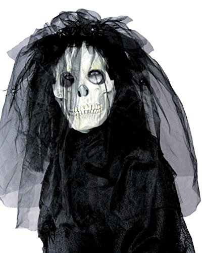 Skull Bride With Hair Wedding Scary Latex Adult Halloween Costume Mask