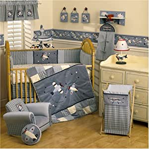 Lambs ivy baby aviator 6 piece bedding set discontinued by manufacturer crib - Airplane baby bedding sets ...