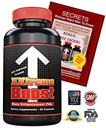 XXtremeBoost 60 Male Enhancement Pills to Increase Length Girth Sex Drive - Male Enlargement Device - Performance Enhancing Supplements - Maintain Longer Lasting Harder Erections & Potency - USA Made