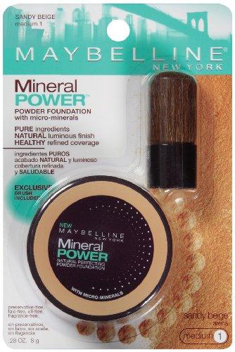 Maybelline New York Mineral Power Powder Foundation, Sandy Beige, Medium 1, 0.28 Ounce