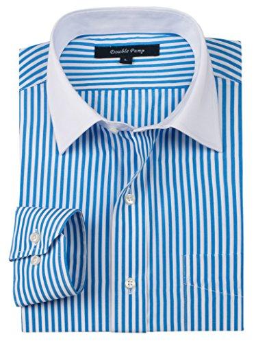 (ダブルポンプ) DOUBLE PUMP メンズ細身 長袖 青 ドレスアップ 正装 ワイシャツ.白い 襟 形態安定