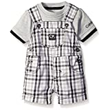 Calvin Klein Baby Boys' Interlock Top with Woven Shortall, Lt Gray/Plaid, 6-9 Months