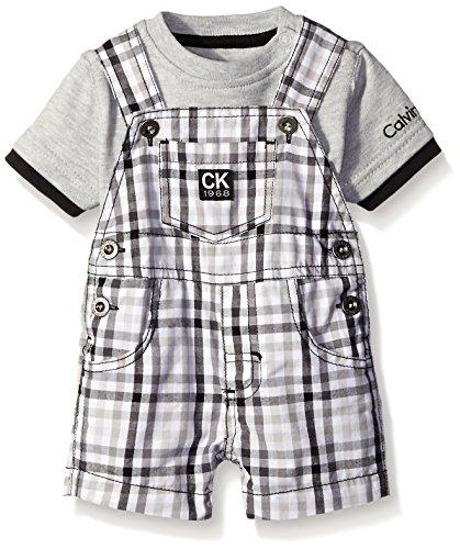 Calvin Klein Baby Boys' Interlock Top with Woven Shortall, Lt Gray/Plaid, 24 Months