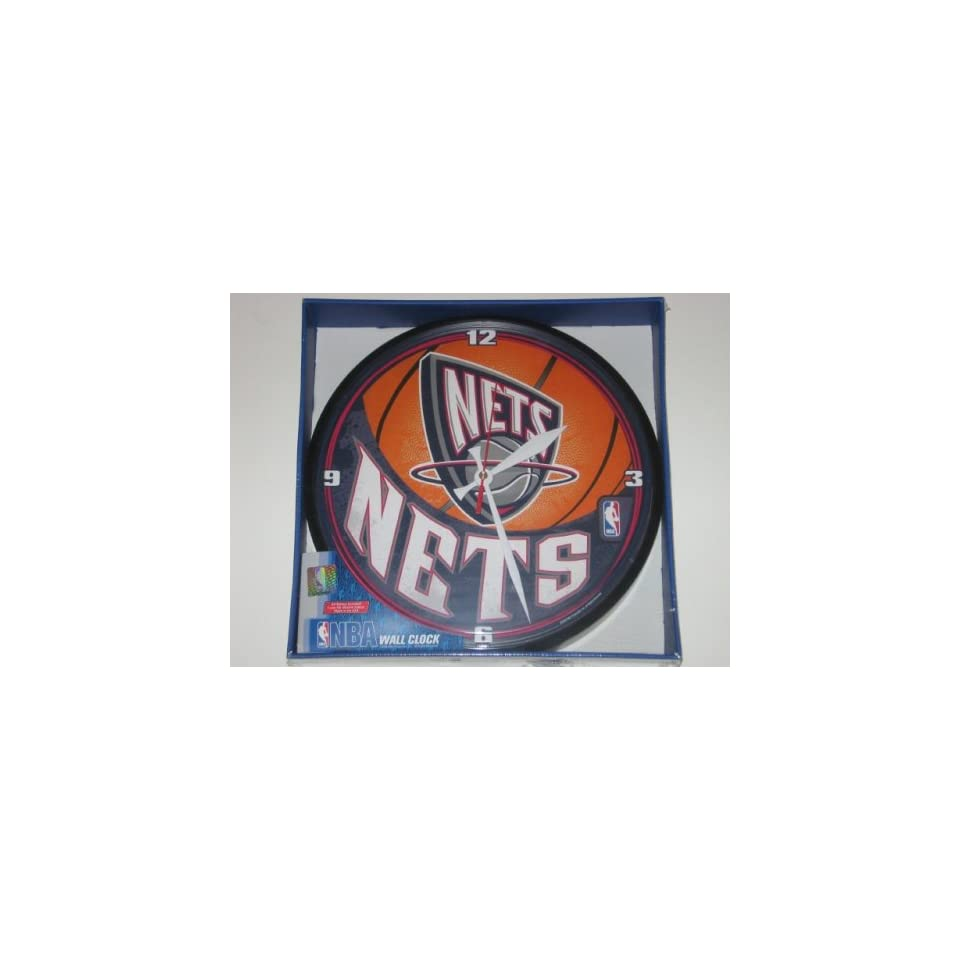 size 40 fbfbe b9344 NEW JERSEY NETS 12 Team Colors & Logo Round WALL CLOCK on ...