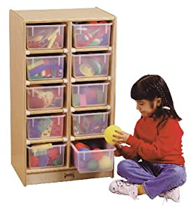 10 Tray Mobile Storage With Clear Trays - School & Play Furniture