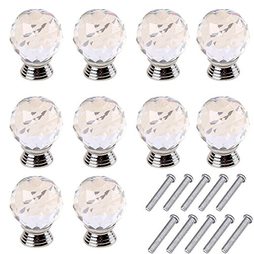 10pcs 30mm Glass Clear Cabinet Knob Drawer Pull Handle Kitchen Door Wardrobe Hardware Used for Cabinet, Drawer, Chest, Bin, Dresser, Cupboard, Etc (Clear-Silver) (Clear Glass Cabinet Pulls compare prices)