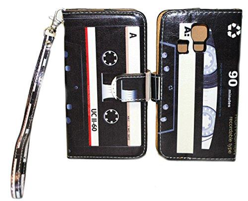 Retro & Classic Cassette Design Wallet Leather Case for Kyocera